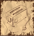 Retro old school toaster on vintage background vector image