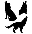 Silhouettes of Wolves2 vector image