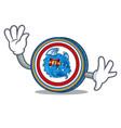 Waving dragonchain coin character cartoon vector image