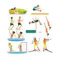 set of sport competitions icons in flat vector image