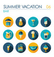 bar beach flat icon set summer vacation vector image