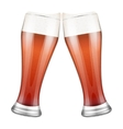 Two red beer glasses clink vector image