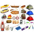 Camping gears and boats vector image
