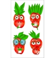 Set of a red animals persons icons with emotions vector image