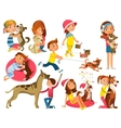 Children With Pets Set vector image