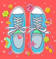 colorful of blue gumshoes on red background vector image