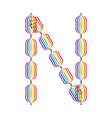 Letter N made in rainbow colors vector image