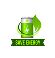 save green energy leaf battery icon vector image