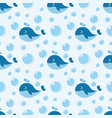 seamless pattern with cute blue whale vector image