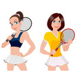 two tennis player vector image