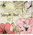 Grungy retro background with flowers and vector image
