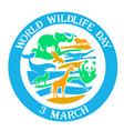 greeting card wildlife day vector image