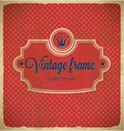 Aged vintage polka dot frame with crown vector image