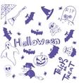 Halloween characters doodle art vector image