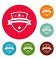 badge knight icons circle set vector image