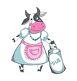 Funny cow milk isolated on a white background vector image