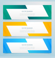 geometric web banners set in different colors vector image