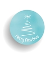 Merry Christmas tree and label in the blue circle vector image