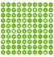 100 delivery icons hexagon green vector image vector image