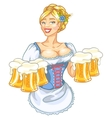 Pretty Pin Up Girl with beer mugs vector image
