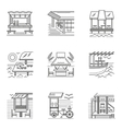 Thin line style cafe and bungalows icons vector image