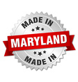 made in Maryland silver badge with red ribbon vector image