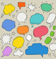 Set of hand-drawn comic style talk clouds Template vector image