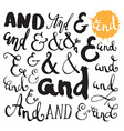 Collection of hand painted ampersands vector image