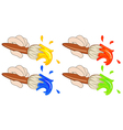 Four colorful paintbrushes vector image