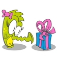 Little Dragon With Gift vector image