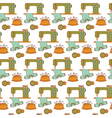 Seamless pattern of sewing tools icons on white vector image