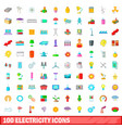 100 electricity icons set cartoon style vector image