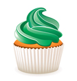 cupcake with green cream vector image vector image
