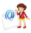 Girl with mail envelope vector image vector image