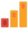 Bar chart with up and down arrows vector image
