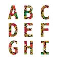 flower font capital English Alphabet Isolated vector image
