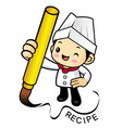 happy cook character create recipe with brush vector image