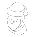 Santa Claus head icon outline style vector image