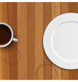 Dinner plate and coffee cup on wooden background vector image