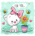 cute cartoon kitten with flower vector image