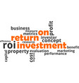 word cloud - return on investment vector image