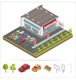 Isometric Supermarket Car Parking City vector image