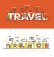 Flat design line concept banner Travel vector image