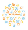 travel and tourism round design template line icon vector image