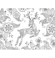 Coloring page with running deer and floral vector image