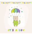 Baby Shower or Arrival Card - Baby Cat Flying vector image vector image