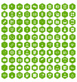 100 department icons hexagon green vector image