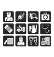 Silhouette Medicine and healthcare icons vector image