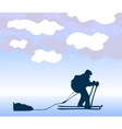 Sportsman the skier goes on a grief background vector image vector image