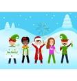 Christmas Postcard With 5 Characters vector image